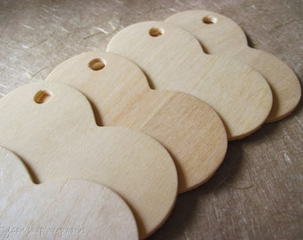 "75 Natural Wood Heart Gift Tags, 2 5/16"" wide Small Wood Hearts"