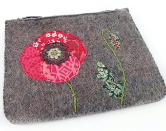 Small felt zipped purse, grey felt furse, money wallet, zipped coin purse, poppy purse, embroidered poppy purse, cute flower purse, liberty