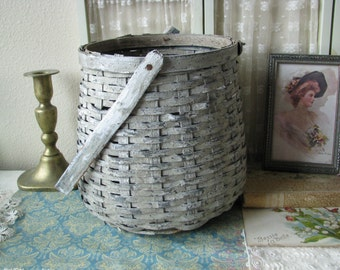 Antique Primitive Hand Made Silver Birch Woven Basket Bundle Basket Antique Basket Silver Birch Estate