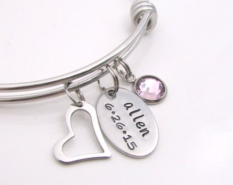 Personalized Mothers Bracelet - Mom Birthstone Jewelry - Hand Stamped Personalized Bracelet - Personalized Hand Stamped Gift for Mom
