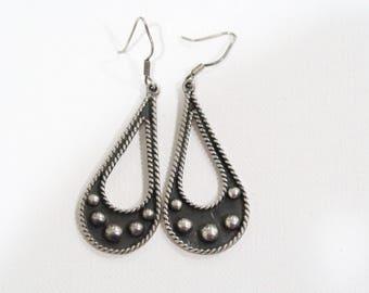 Sterling oxidized navajo pierced earrings