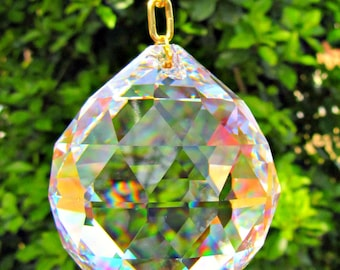 Asfour 50mm  Faceted Crystal Prism Ball, Crystal Ball, Sun Catcher, Feng Shui Crystal Prism