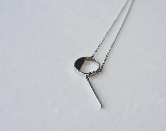 Half black,925 silver, necklace