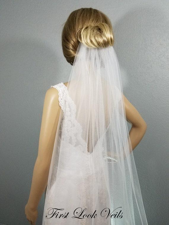 White Wedding Veil, Cathedral Bridal Veil, One Layer Plain Viel, Wedding Vail, Bridal Viel, Bridal Attire, Bridal Accessory, Ivory Veil
