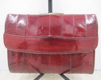 Lovely red wine eel skin wallet