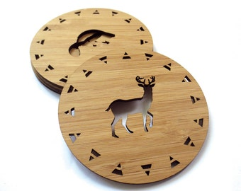 West Coast Wildlife Coasters. Wood Coasters. Lasercut Coasters. Drink Coasters. Wooden Coasters. Housewarming Gift. Hostess Gift. Bar Ware