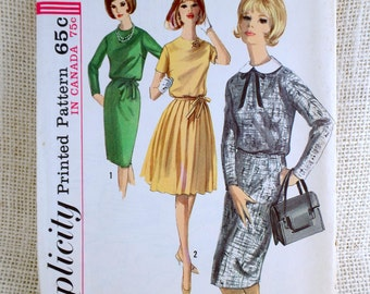 Vintage Pattern Simplicity 5613 1960s Bust 32 detachable collar Full Pleated Skirt shift wiggle blouson dress Audrey Hepburn