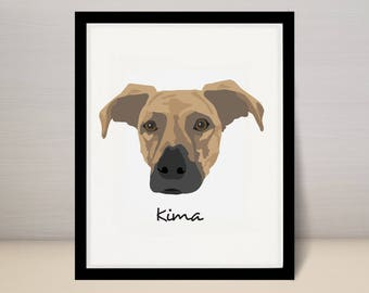 "8"" x 10"" Custom Pet Portrait Illustration, Dog Portrait, 8x10 print"