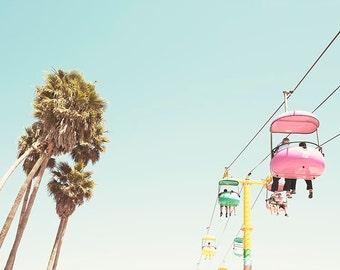 Santa Cruz Photography, Summer, Mid Century Modern, Pastel Wall Arr, Palm Trees, Santa Cruz Boardwalk, Retro Inspired, Nursery Wall Art