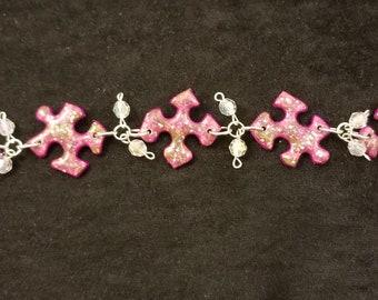 Puzzle Piece Bracelent, Pink Sparkle, 8 inch, Autism Awareness, Unique Jewelry