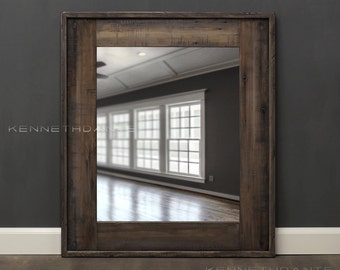 Reclaimed Wood Mirror Bathroom Mirror Rustic Whitewash Weathered Wood Natural Barn Salvage Farmhouse Frame 30 X 26