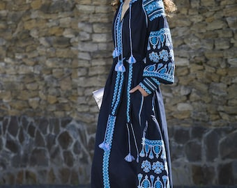 Vyshyvanka Beautiful Dark Blue Ethnic Linen Dress, 100% linen. Free SHIPPING. Boho Embroidered Dress. Ukrainian National Clothing