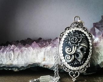 Necklace. Sugar Skull Swarovski Crystal Pendant. Large Flower Rose Jewelry. Unique gift for Bridesmaid Dia De Los Muertos Wedding.