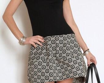 Short Dress - Mini Dress - Little Dress - Black Dress - Short Sleeve Dress - Bubble Skirt - Black and White Dress - Boat Neck - Bubble Dress