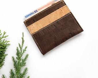 Thin wallet men, natural cork card wallet, cork wallet, cork slim wallet, vegan wallet, slim wallet, card holder, natural card holder