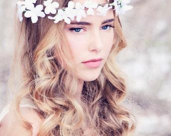 white flower crown bridal  hair accessories wedding flower crown floral flower wreath boho wedding floral crown festival flower crown