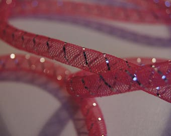 SET OF 5 M IN FUCHSIA WITH EDGING NET SILVER