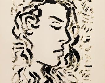 Montype Print Female Portrait in Black Akua Ink