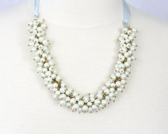 Cluster Pearl Necklace with Ribbon White Pearl Choker Pearl Statement Necklace Bridal Necklace Brides Maids Necklace