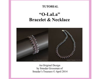 Beading Tutorial, O La La Bracelet and Necklace. Beading pattern with O Beads, Crystals, Drops. Jewelry Making Pattern, Beadweaving Beadwork