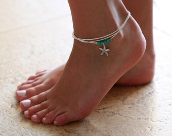 White Anklet - White Ankle Bracelet - Foot Jewelry - Foot Bracelet - Summer Jewelry - Beach Jewelry - Anklets For Women - Beach Wedding