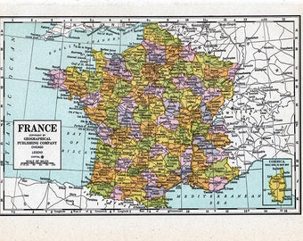 vintage map of France from a  1942 American Encyclopedia.