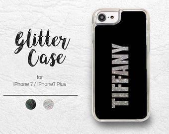 Personalized Custom Name lettering Liquid Glitter Sparkle Transparent Phone Case for iPhone 7, iPhone 7 Plus, Black Glitter, Silver Glitter