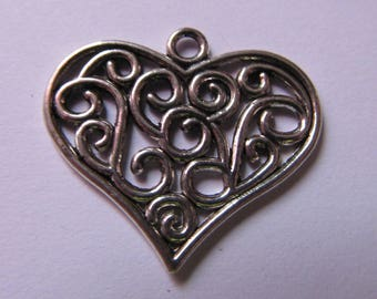 silver pendant, heart pendant, 24mmx27mm, creation jewels, necklace, keychain, lot of 2 pendants