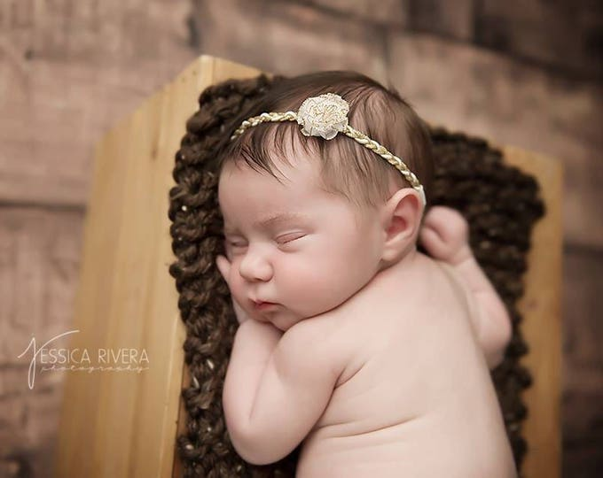 Gold & White Headband with a white organza flower, newborn headband,  bebe, handmade, by Sweet Pea