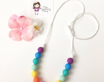 Rainbow Silicone Teething Necklace, Silicone Beads Nursing Necklace, Mommy Necklace, Silicone Beaded Necklace, Silicone Teething Necklace