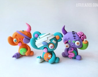 Random THREE PACK of LittleLazies   3 Miniature Monsters   Polymer Clay Sculptures   Handmade   Thank You!