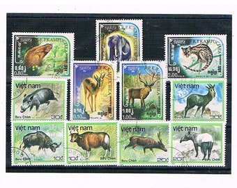 Wild Animal Postage Stamp Collection - hare, boar, elephant, stag etc | vintage 1980s wildlife thematic topical postal stamps for craft etc