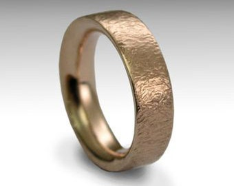 Solid rose gold ring, Men and Women ring, hammered band, wedding band, unisex ring, rose gold band, simple gold ring - Our happiness RG1081