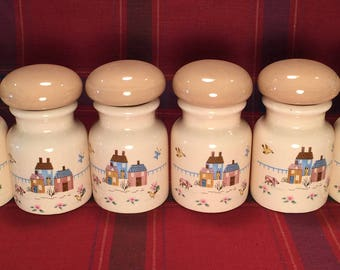 Vintage Spice Jars Set with Farm Scene
