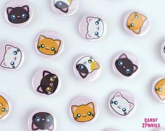 KAWAII BUTTON KATZE Kitty Kätzchen Cat Kitten- 25 mm 1 Zoll Inch Buttons Ansteckbutton Nadelbutton Pin Buttons Motiv