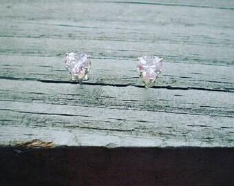 Pink Cubic Zirconia Heart Stud Earrings 6mm