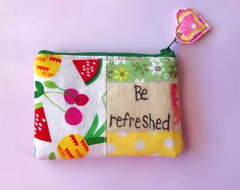 Tropical fruit eco friendly patchwork zipper pouch, zippered wallet, coin pouch, inspirational pouch