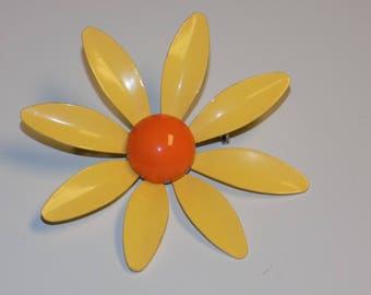 Vintage Bright Yellow Flower Brooch