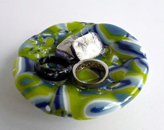 Fused Glass Ring Dish in Blue, White and Green by BPRDesigns