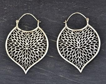 Silver Leaf Earrings, Bohemian Earrings, Silver Hoop Earrings, Large Silver Earrings, Tribal Leaf Earrings, Ethnic Earrings, Boho Earrings