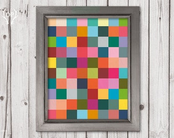 Abstract colorful printable art rectangles geometric print wall home decoration nursery instant download