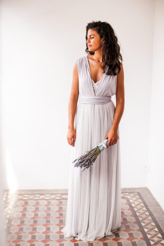 Pearl grey long dress light grey infinity dress long