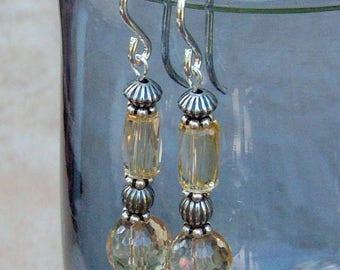 Genuine Citrine Dangle Earrings, Sterling Silver, Cavalier Creations