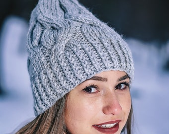 Gray hat Cable hat Gray winter hat Handmade winter hat Winter beanie hat Gray unisex hat Knit gray hat Slouchy beanie Winter beanie