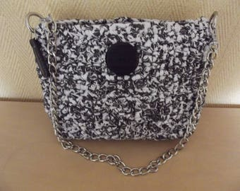 Violet and black and white clutch bag