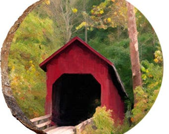 Red Covered Bridge in Fall - DSB164