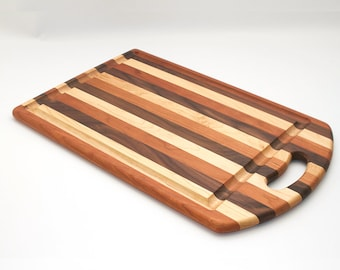 Large Striped Wooden Cutting Board with Handle Maple Cherry Walnut Handmade Wood Cutting Board Multi-Color