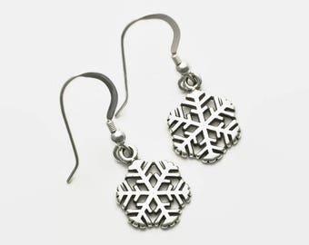 Winter Snowflake Earrings Sterling Silver Dangle Style Boxed