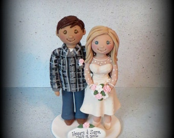 Wedding Cake Topper, Custom Cake Topper, Bride and Groom, Polymer Clay, Personalized, Keepsake