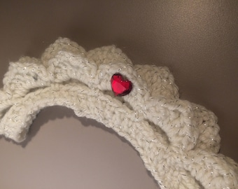 Girls crochet princess white with silver headband with a red heart